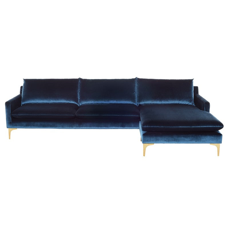 Anders Sectional Sofa-Midnight Blue | Brushed Stainless Steel Legs