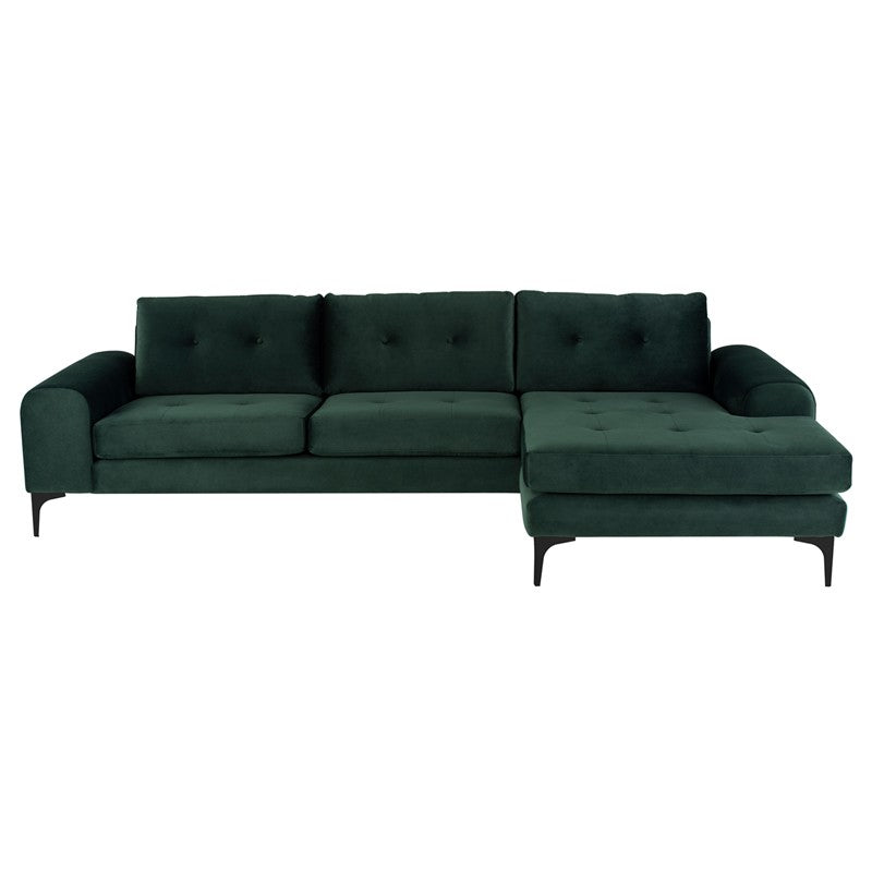 Colyn Sectional Sofa-Emerald Green | Matte Black Steel Legs