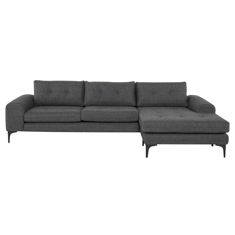 Colyn Sectional Sofa-Dark Grey Tweed | Matte Black Steel Legs