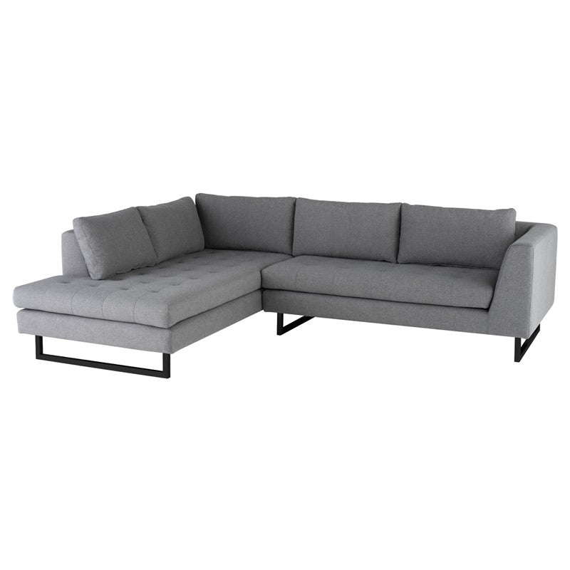 Janis Sectional Sofa-Shale Grey | Matte Black Steel Legs