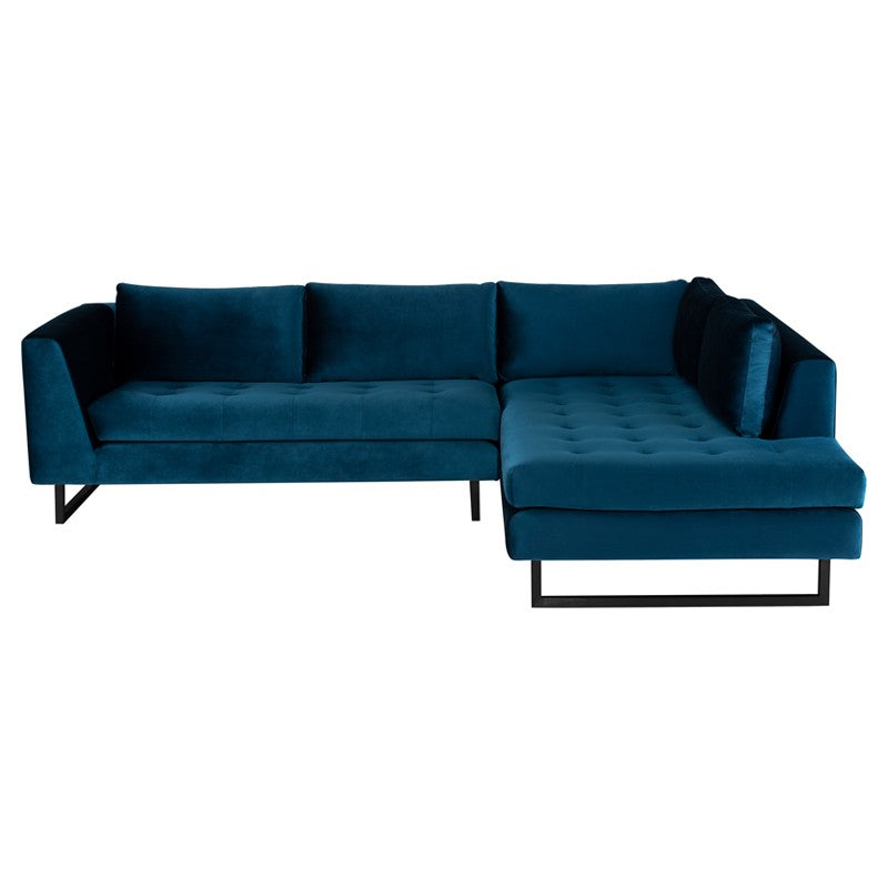 Janis Sectional Sofa-Midnight Blue | Matte Black Steel Legs