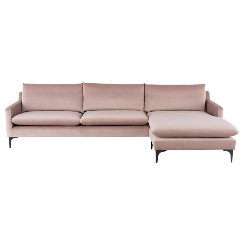 Anders Sectional Sofa-Blush |Matte Black Steel Legs