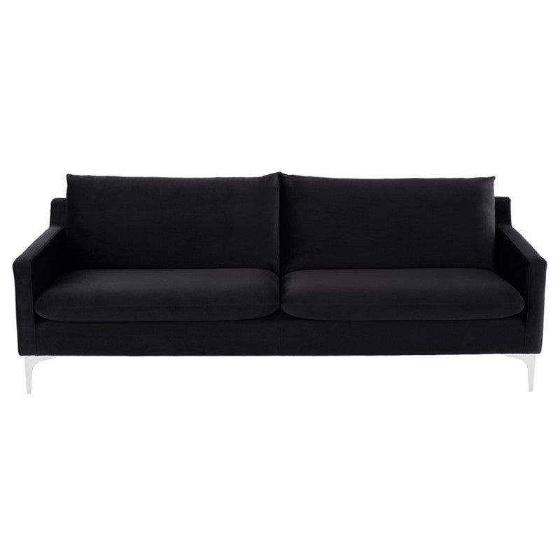 Anders Sofa - Black | Brushed Stainless Steel Legs