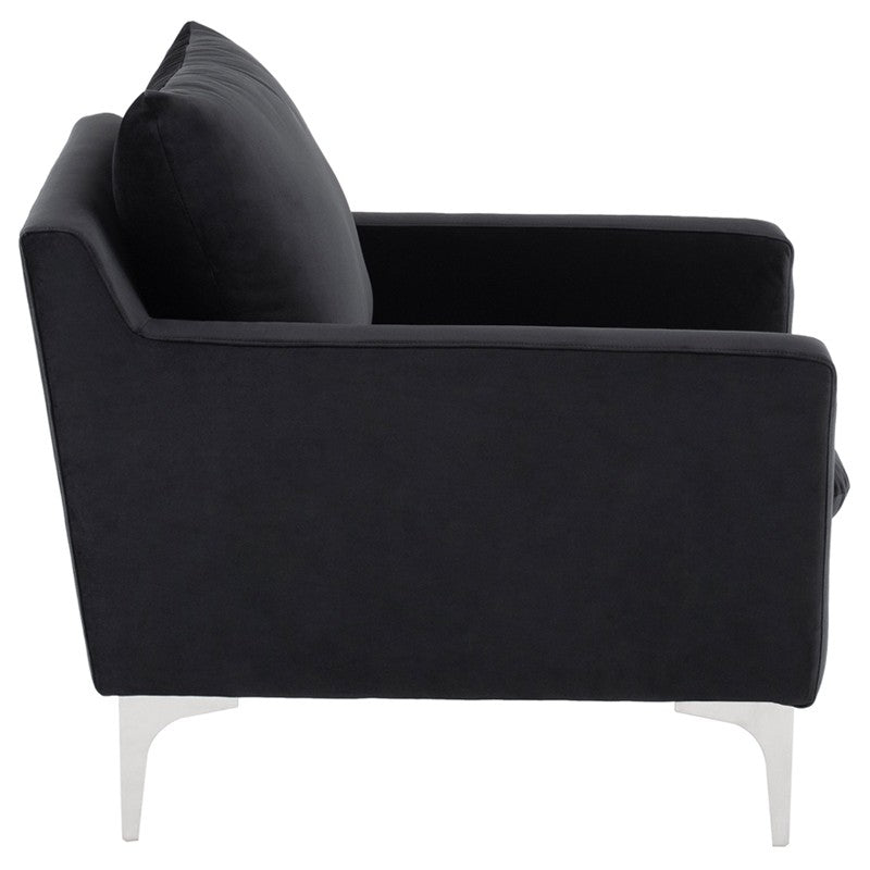Anders Occasional Chair - Black | Brushed Stainles  Steel Legs
