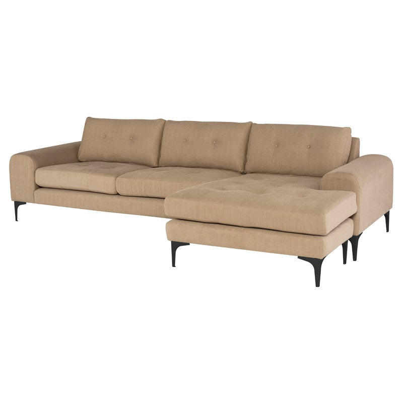 Colyn Sectional Sofa-Burlap | Matte Black Steel Legs