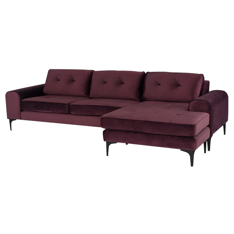 Colyn Sectional Sofa-Mulberry | Matte Black Steel Legs