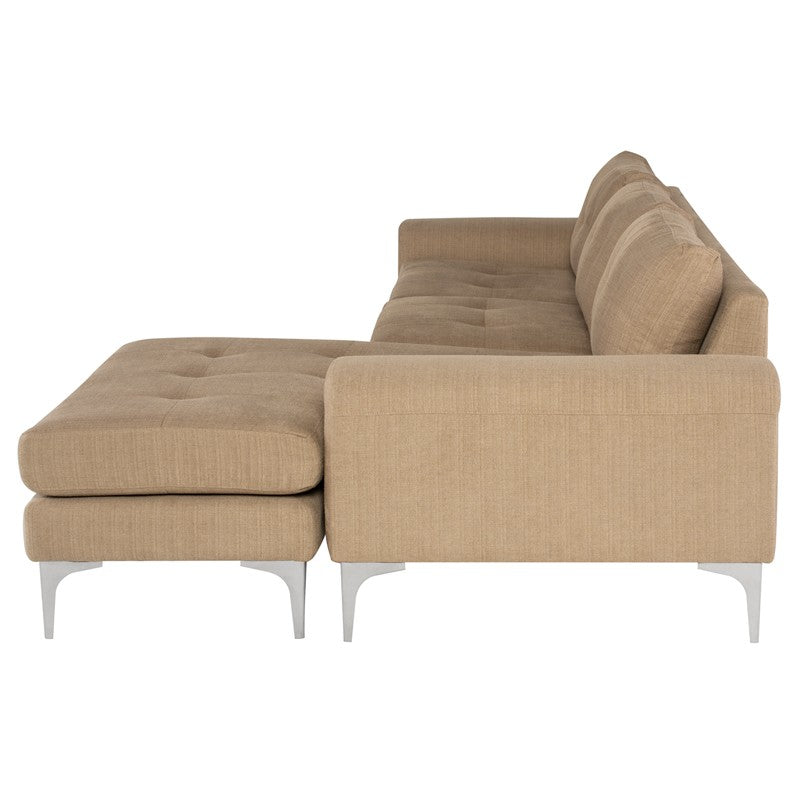 Colyn Sectional Sofa-Burlap | Stainless Steel Legs
