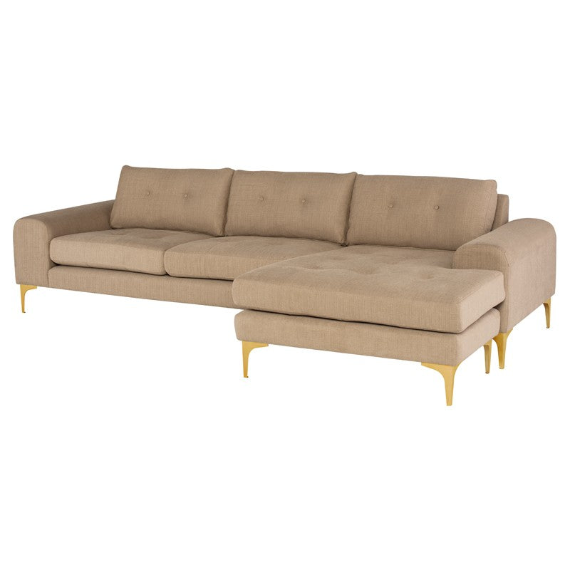 Colyn Sectional Sofa-Burlap | Brushed Gold Legs