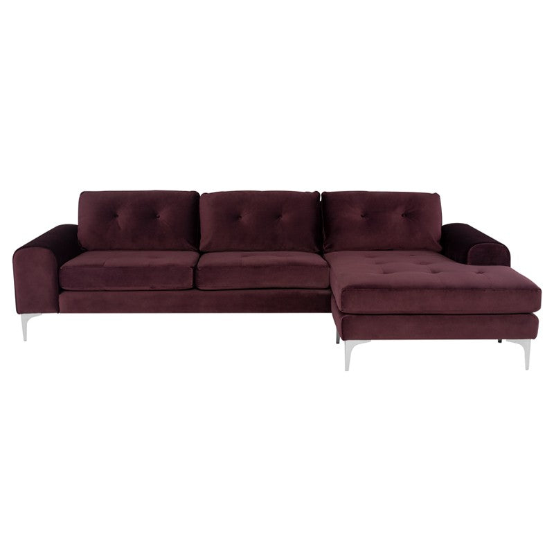 Colyn Sectional Sofa-Mulberry | Stainless Steel Legs