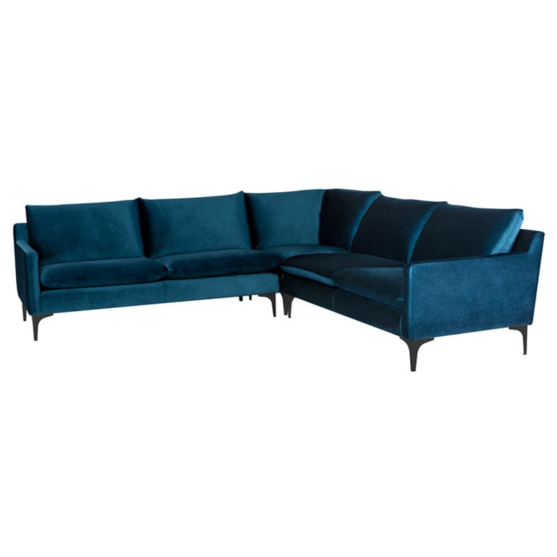 Anders L Sectional Sofa-Midnight Blue | Matte Black Steel Legs