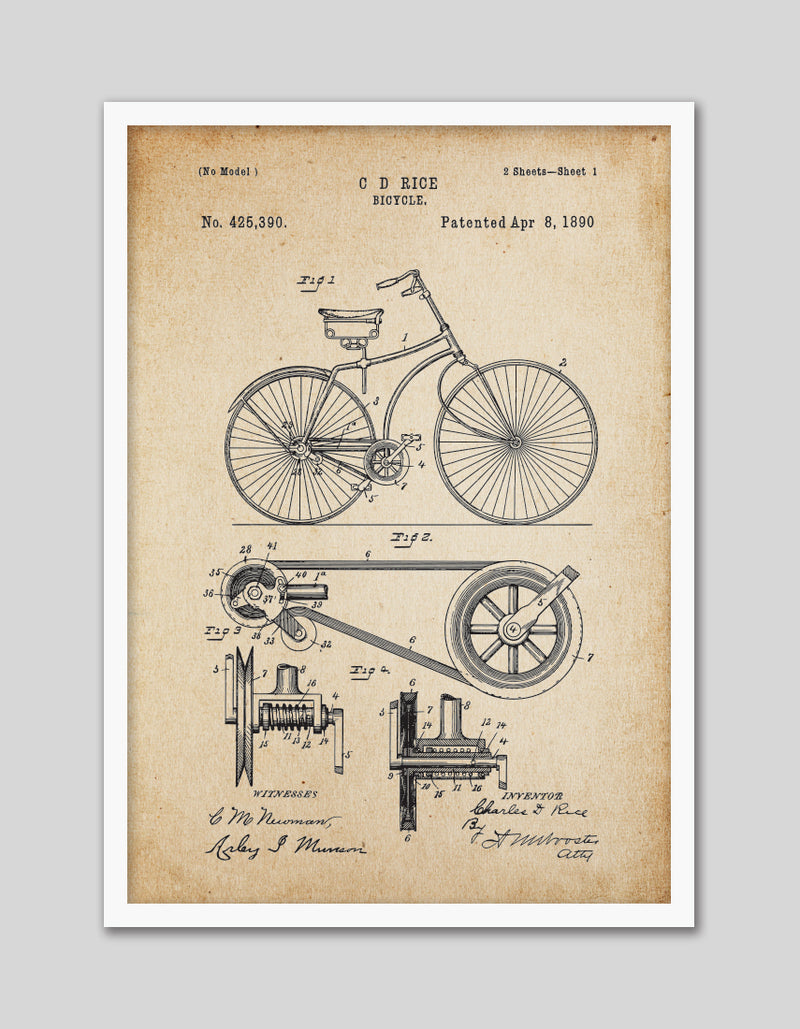 Bicycle Patent Vintage