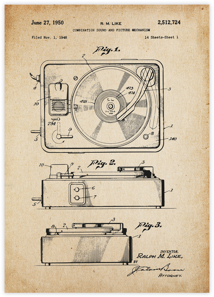 Record Player Patent Vintage
