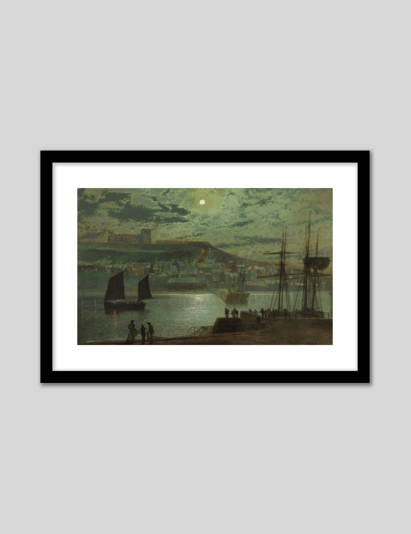 Whitby Harbor by Moonlight