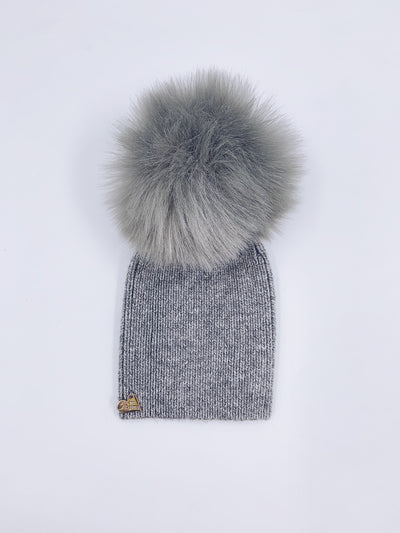 MI LOVES SIGNATURE Angora Adult/Big kids hats with Faux fur pompom