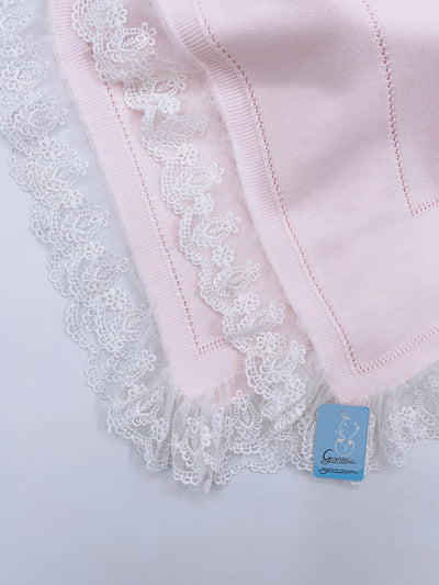 Beautiful Baby pink knitted blanket with lace trim(98cm)