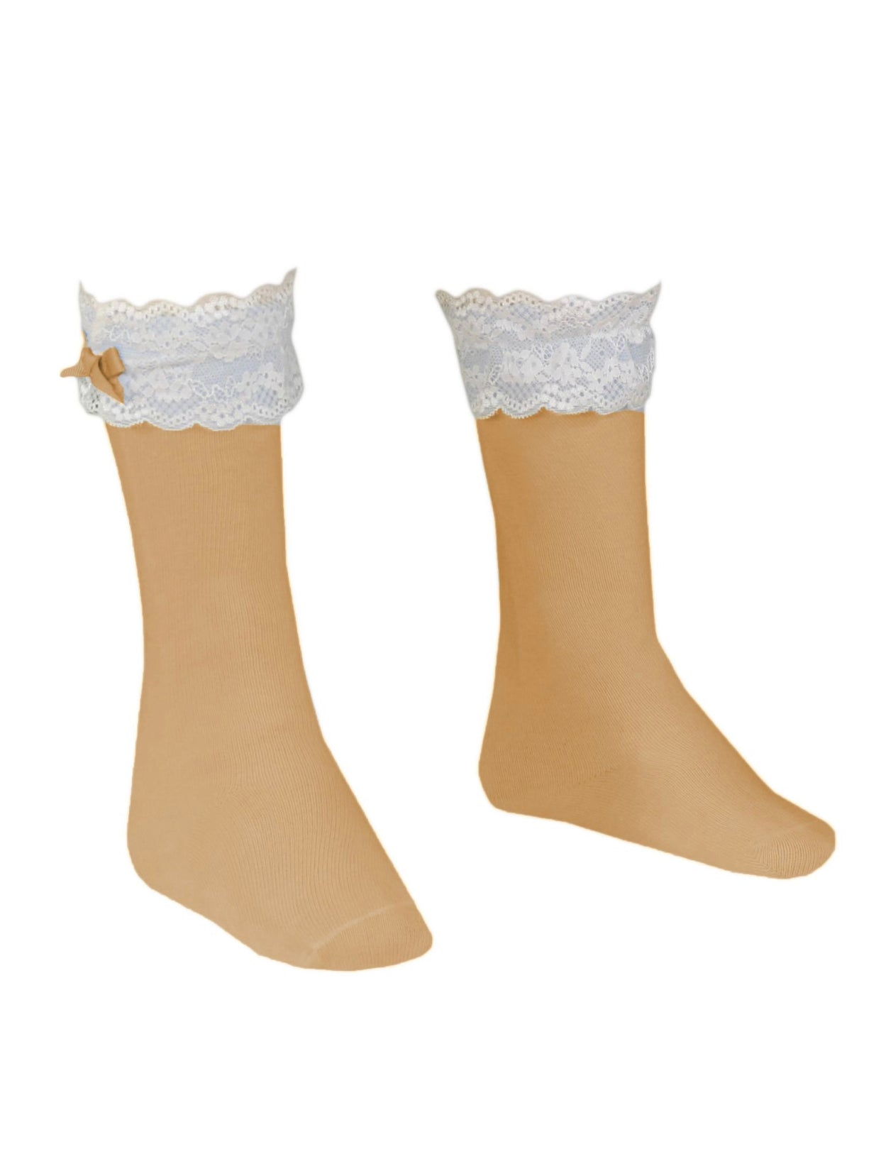 MIRANDA Camel Knee high socks with frilly details
