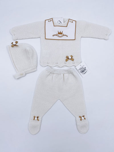 Beautiful Royal knitted 3 piece baby set