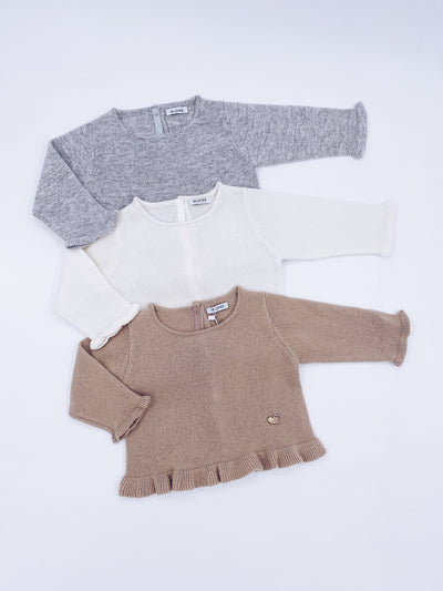 MI LOVES SIGNATURE Cashmere knit sweater with frilly details