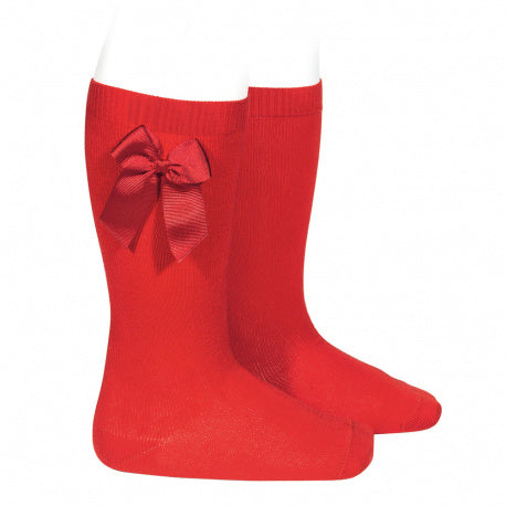 Knee High socks with grossgrain side bow Red(550)