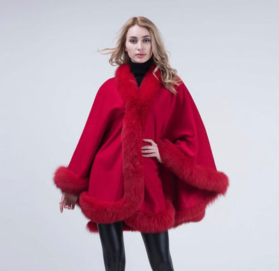 PRE-ORDER(Delivery in 2-3 weeks)MI LOVES SIGNATURE LUXURIOUS FOX FUR TRIM ADULT CAPE