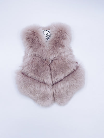 MI LOVES SIGNATURE Synthetic fur vest in Dusty pink