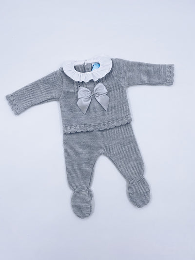 Beautiful Grey  knitted baby set with bow details(N158)