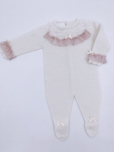 Beautiful Ivory knitted babygrow with Dusty pink lace details