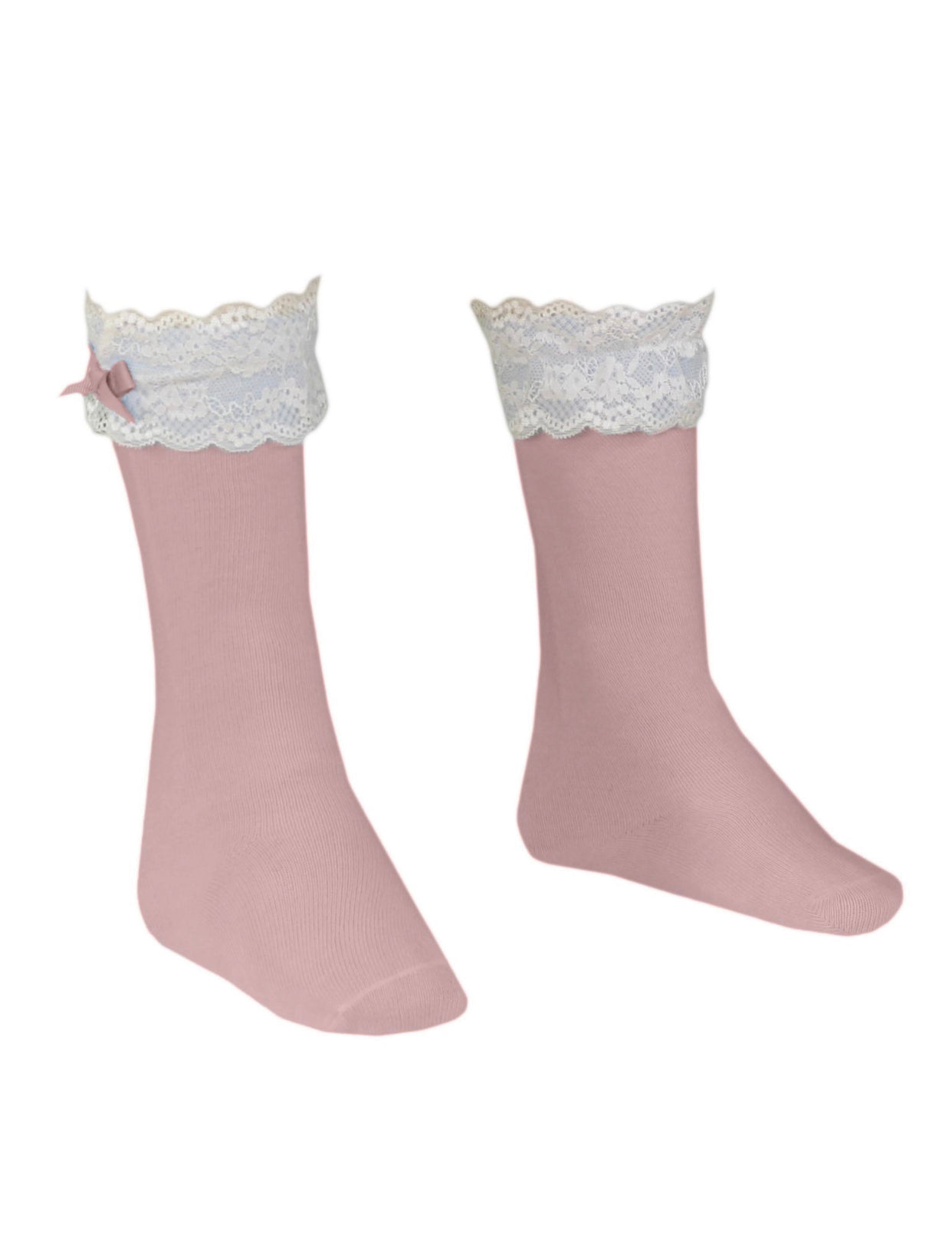 MIRANDA Dusty Pink knee high socks with frilly details