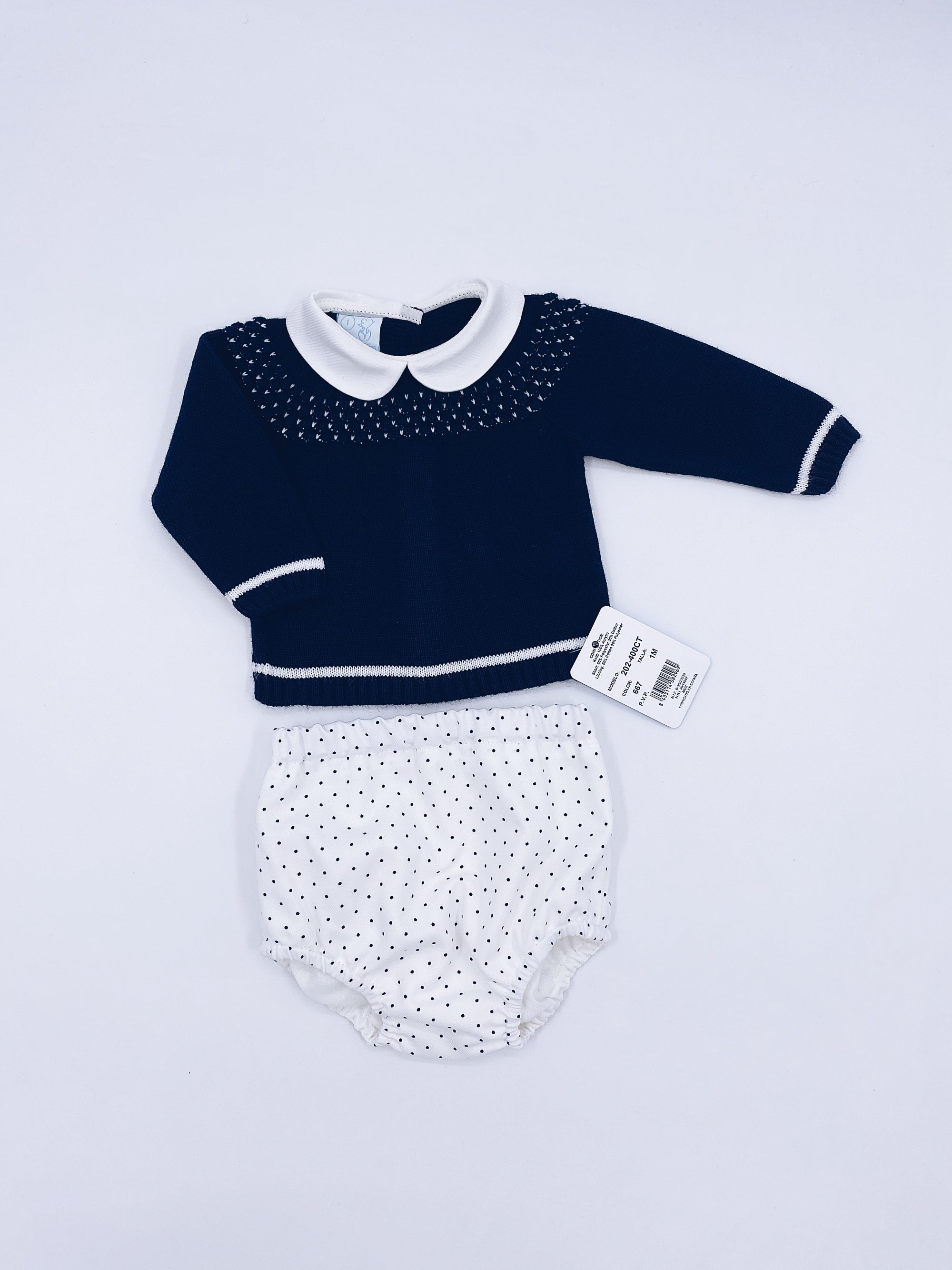 Beautiful Navy knitted jumper and shorts set