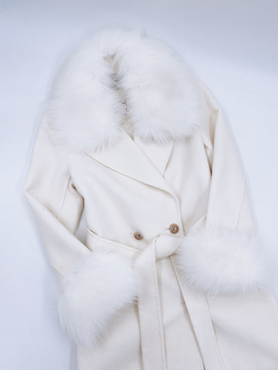 Beautiful Adult Cashmere blend jacket with Synthetic fur trim and cuffs.