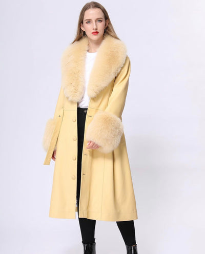 MI LOVES SIGNATURE Luxurious leather trench coat with Synthetic fur trim/cuffs