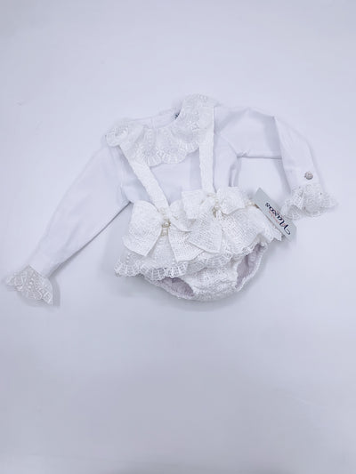 Beautiful Naxos Blouse/Jam pants 2 piece set in white