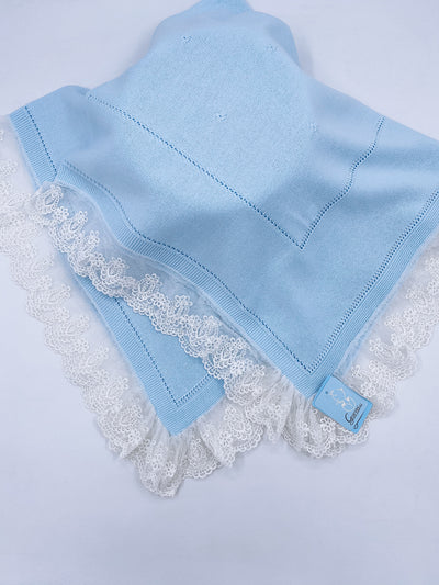 Beautiful Baby blue knitted blanket with lace trim(98cm)