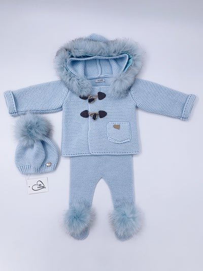MI LOVES SIGNATURE Luxurious Fox fur trim Knitted Cardigan in Baby Blue