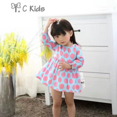 Beautiful Lily dress with pink polka dots!