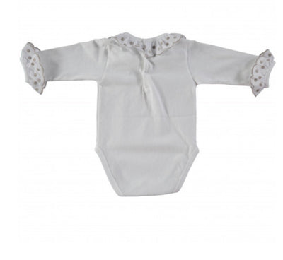 Beautiful White bodysuit with grey trim on the ruffles