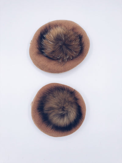 MI LOVES SIGNATURE WOOL BERETS WITH POMPOM(1 Beret)