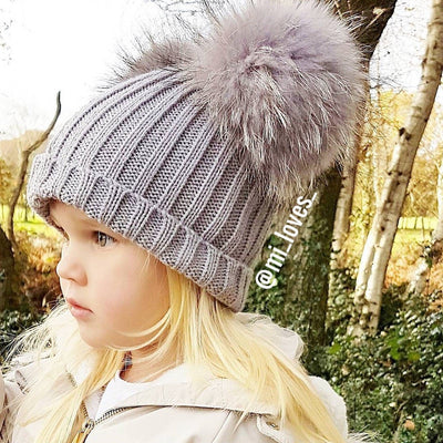 Racoon fur double PomPom hat