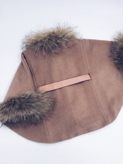 PRE-Order (Delivery in 2-3 weeks)ADULT MILOVES SIGNATURE RACOON fur trim/Cuffs poncho