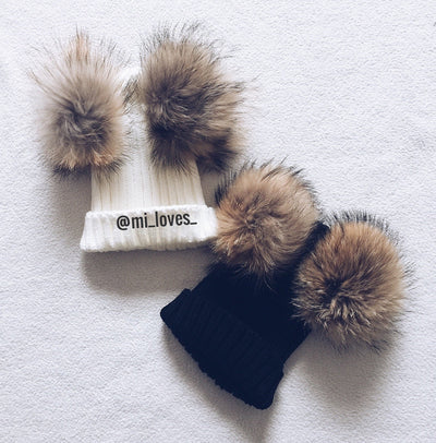 Natural colour Racoon fur Double PomPom hat