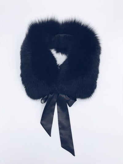 MI LOVES SIGNATURE Luxurious Racoon fur trim collar with atlas bow