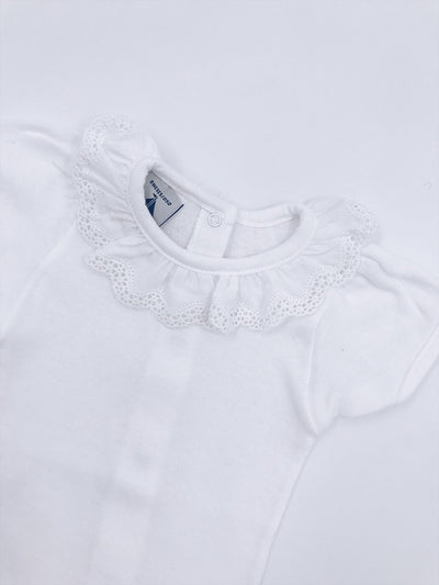 White Cotton Bodyvest with ruffle collar STYLE 1198