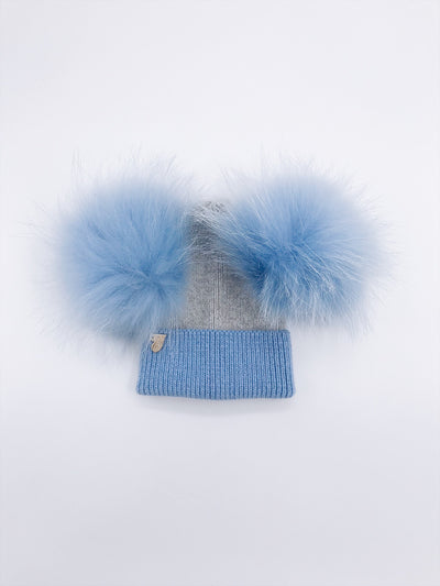 NEW!!MI LOVES Signature Angora Double pompom hat.