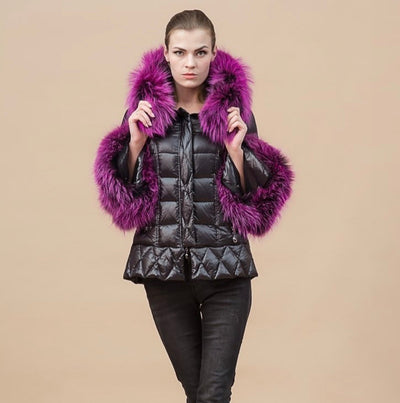Pre-Order (delivery in 3 weeks)Luxurious Racoon fur trim and cuffs short puff jacket