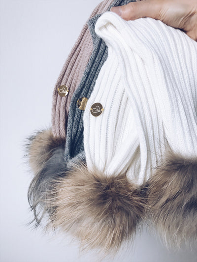 MILOVES SIGNATURE Cashmere Scarf with raccoon fur pompoms(scarf only)