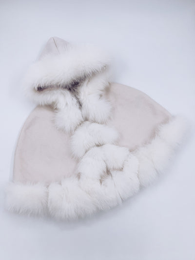 KIDS LUXURIOUS Fox FUR TRIM CAPE FROM MI LOVES SIGNATURE ELITE COLLECTION