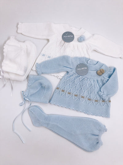 Knitted Unisex baby 3 piece set with pompom details