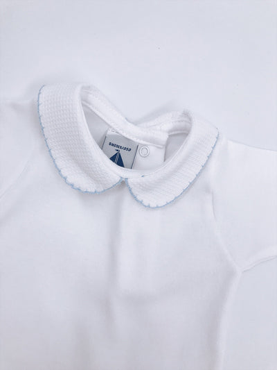 White Cotton baby vest with Peter Pan collar STYLE 1188