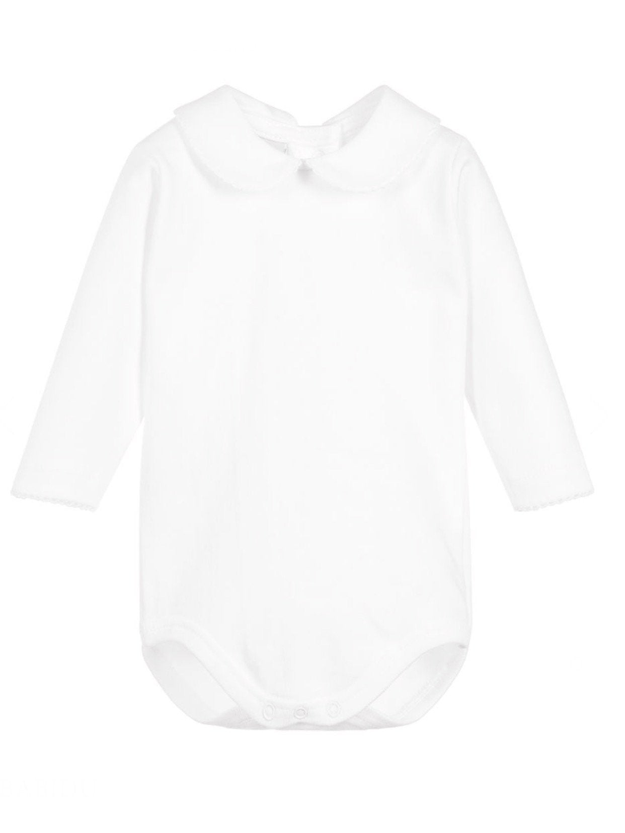 White Cotton baby vest with Peter Pan collar STYLE 1190