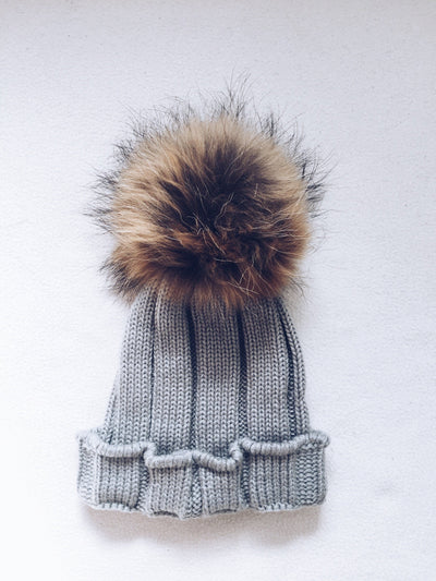 Big kids-Mama rib hat with Natural PomPom ( fits kids from 12 months  up to Adult size)